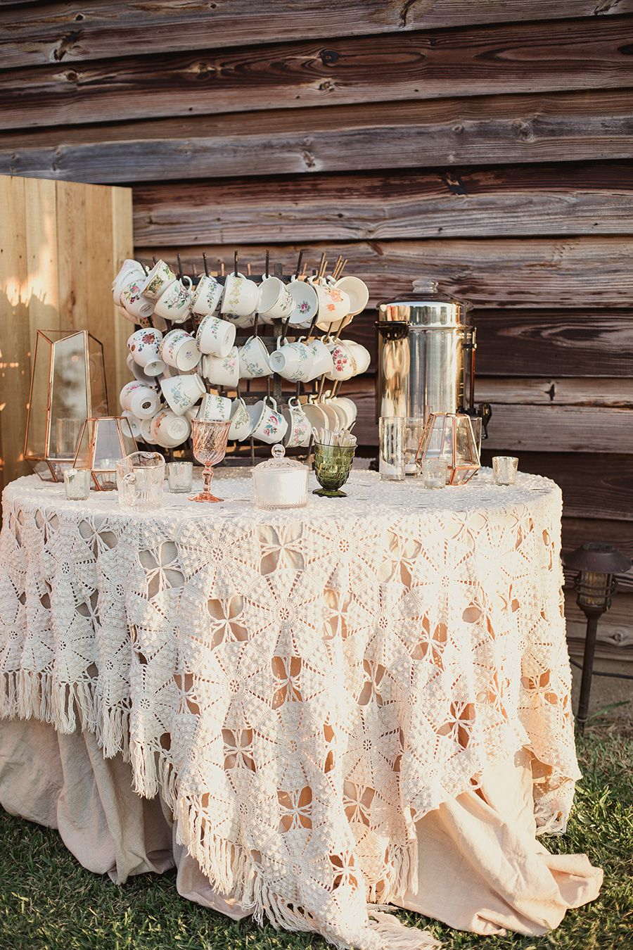 tea and coffee station outdoor wedding