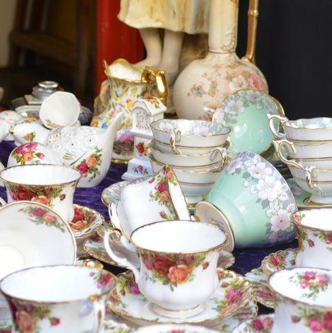 tea set on market stall