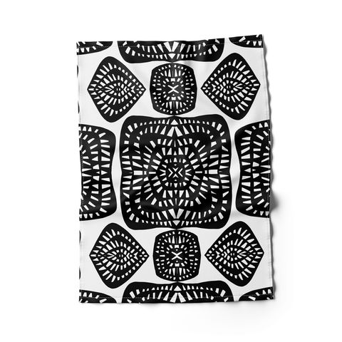 rochelle porter design tea towel with black and white design
