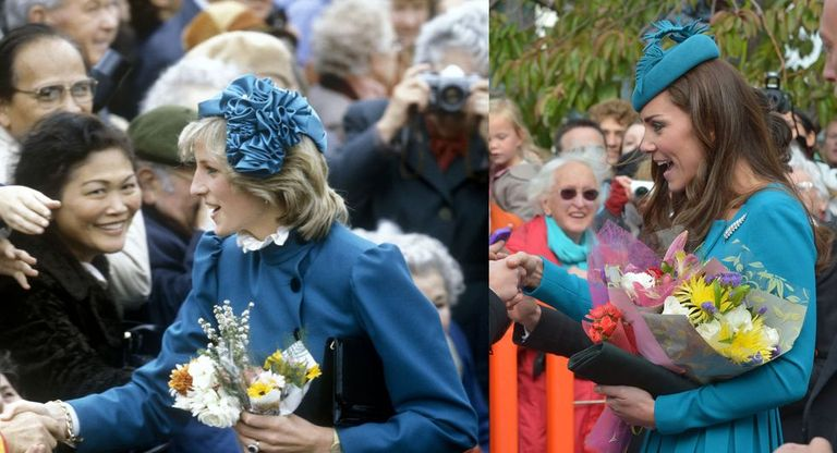 Princess Diana wearing a teal dress coat in New Zealand in 1983, and Kate Middleton wearing a teal Emilia Wickstead dresscoat on Palm Sunday in New Zealand in 2014.