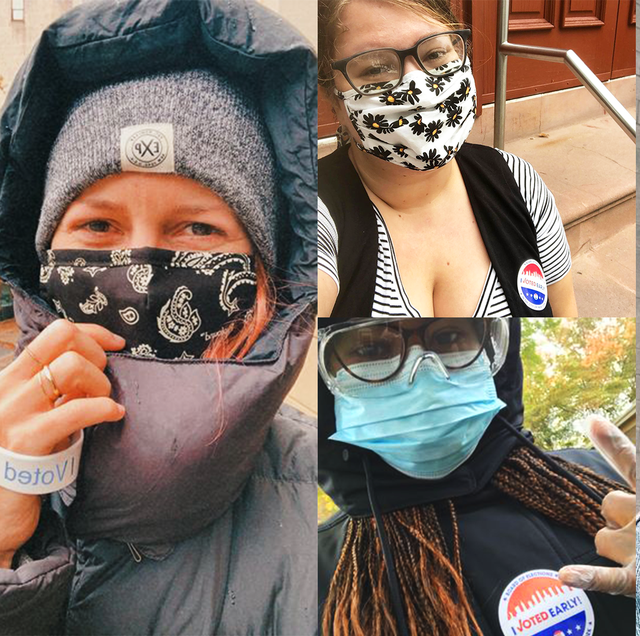"""cosmopolitan editors pose with their """"i voted"""" stickers"""