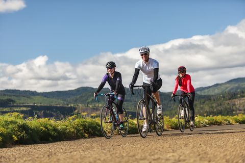 A team of cyclists on a scenic ride.