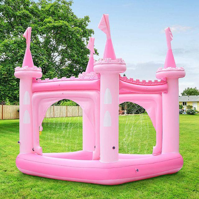 teamson kids pink inflatable castle kiddie pool play center