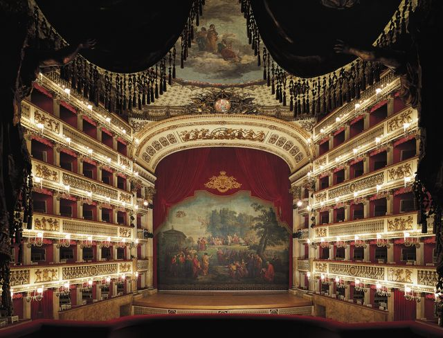 italy   january 20 interior view of the stage of the san carlo theatre in naples, 1737, architectural design by giovanni antonio medrano 1703 1760, with the five tiers of boxes, the gallery and the stage italy, 18th century photo by deagostinigetty images