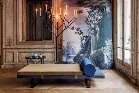 Room, Interior design, Blue, Furniture, Table, Wall, Floor, Tree, Living room, House,