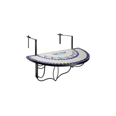 tectake balkontafel mozaïek klapbaar wit blauw balkon tafel