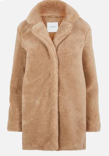 Clothing, Outerwear, Coat, Sleeve, Fur, Beige, Tan, Fur clothing, Overcoat, Jacket,