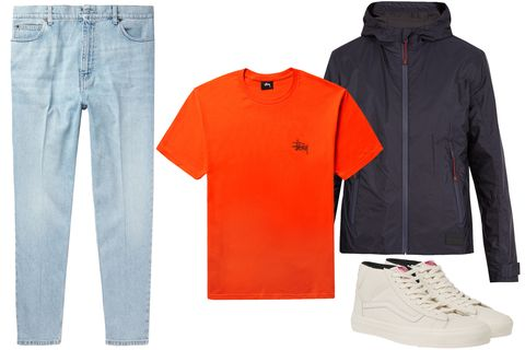 Clothing, Sleeve, Orange, T-shirt, Jeans, Outerwear, Footwear, Brand, Polo shirt, Trousers,
