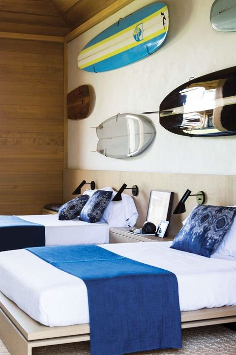 teenager's room with surfboards on the wall