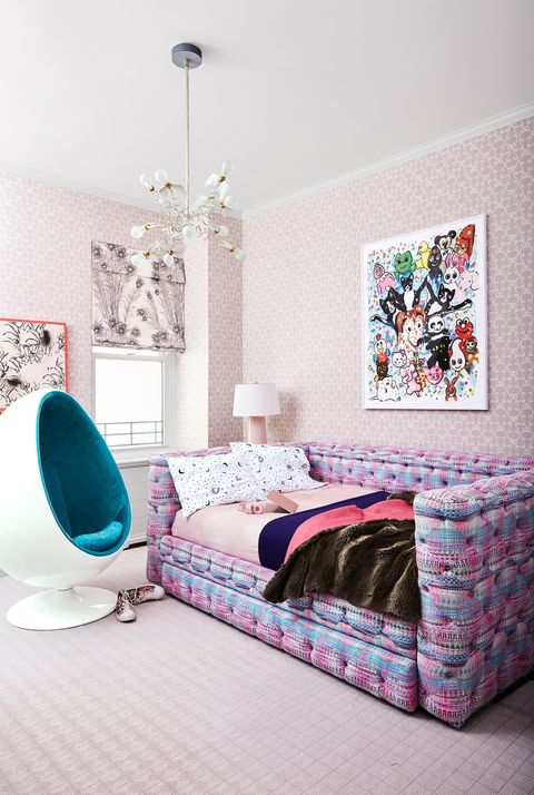 teen bedroom with egg chair