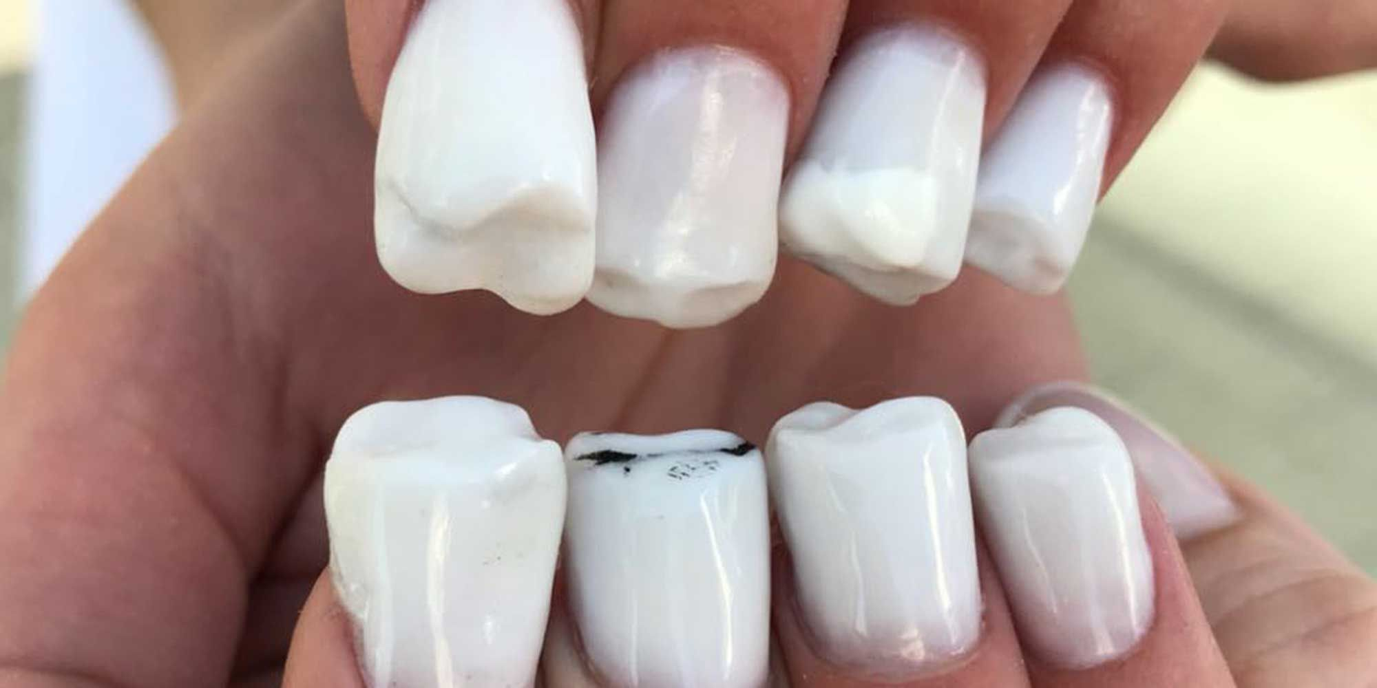 Teeth Nail Art Molar Tooth Weird Nail Art Trend