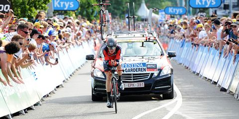 Tejay van Garderen competes in the Stage 1 time trial at the 2015 Tour de France