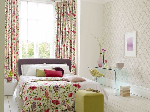 Curtain, Room, Interior design, Furniture, Pink, Bedroom, Product, Property, Wall, Window treatment,