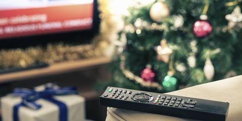 Television remote control, close up