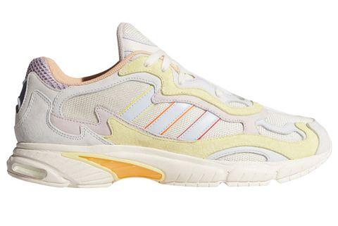 Shoe, Footwear, Outdoor shoe, White, Running shoe, Product, Walking shoe, Yellow, Tennis shoe, Cross training shoe,