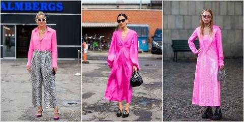 Clothing, Pink, Street fashion, Fashion, Magenta, Dress, Formal wear, Fashion model, Footwear, Outerwear,