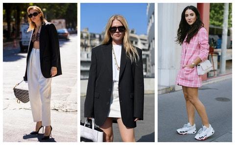 Clothing, White, Street fashion, Black, Blazer, Footwear, Fashion, Pink, Outerwear, Shoe,