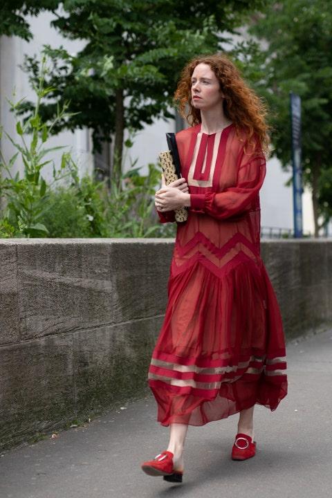 Clothing, Red, Pink, Street fashion, Fashion, Dress, Photography, Textile, Photo shoot, Costume,