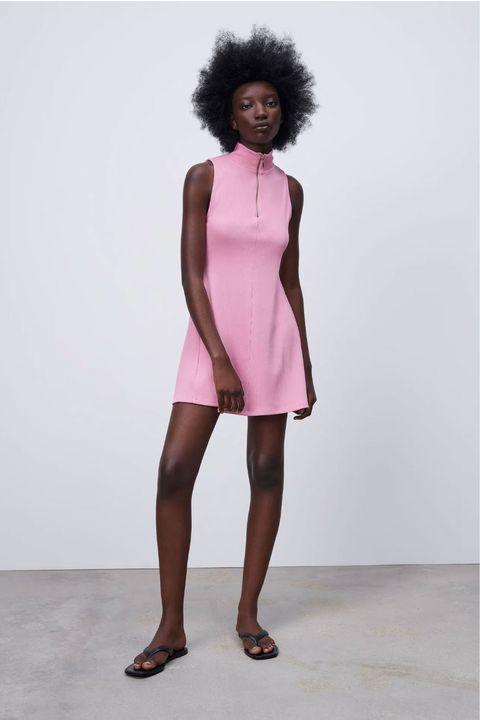 vestido rosa pastel de zara