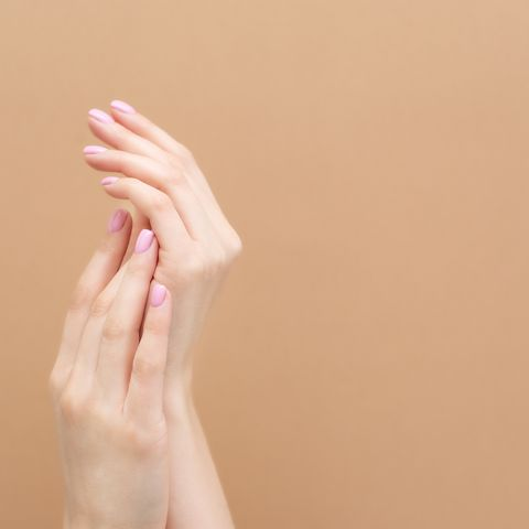tender hands with perfect blue and pink manicure on trendy pastel pink background place for text