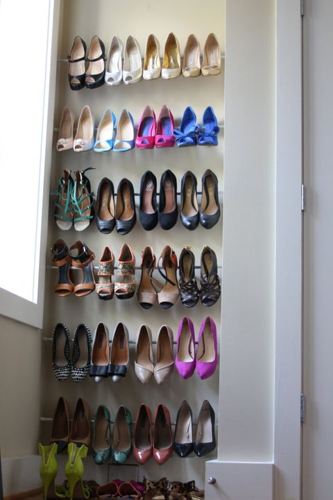 Room Organization Tension Rod Shoe Rack