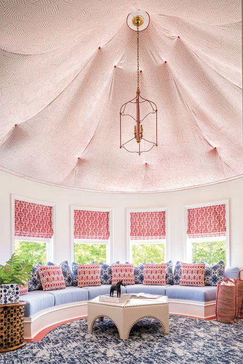Room, Pink, Ceiling, Interior design, Furniture, Wall, Yellow, Home, Living room, House,