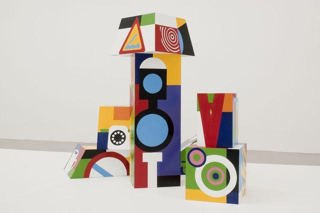 teresa burga, untitled  prismas j, 1968  2013 set of 7 objects painted plywood dimensions variable
