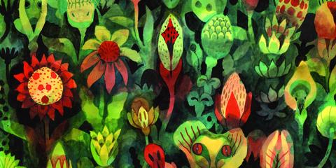 Green, Vegetation, Plant, Flower, Leaf, Organism, Pattern, Groundcover, Fictional character, Wildflower,