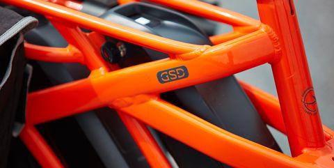 Bicycle part, Orange, Bicycle frame, Vehicle, Bicycle wheel, Bicycle, Wheel,