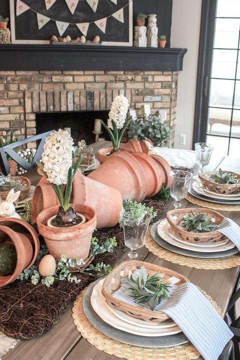 terra cotta pots easter table decoration