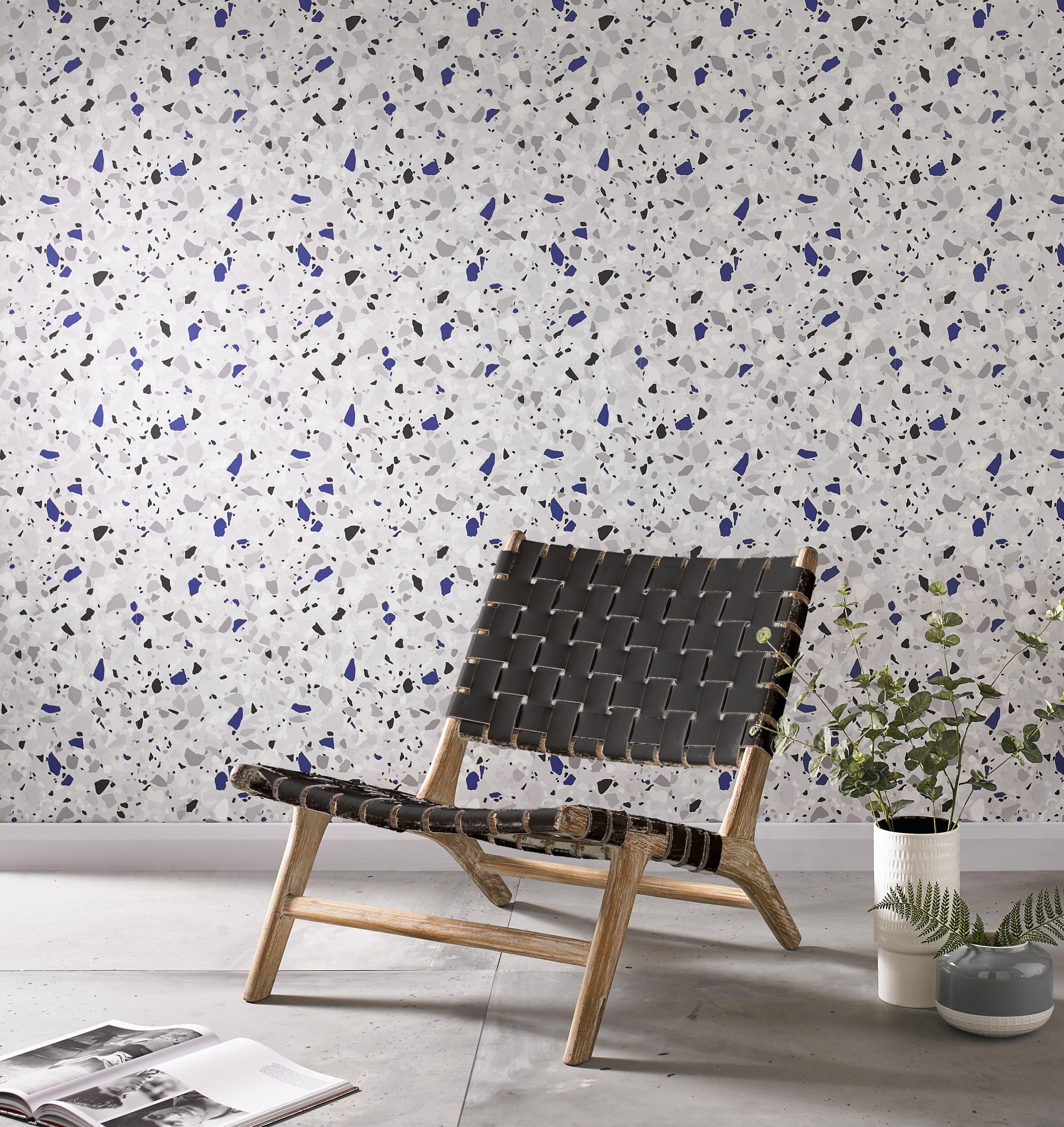 blue wallpaper terrazzo design