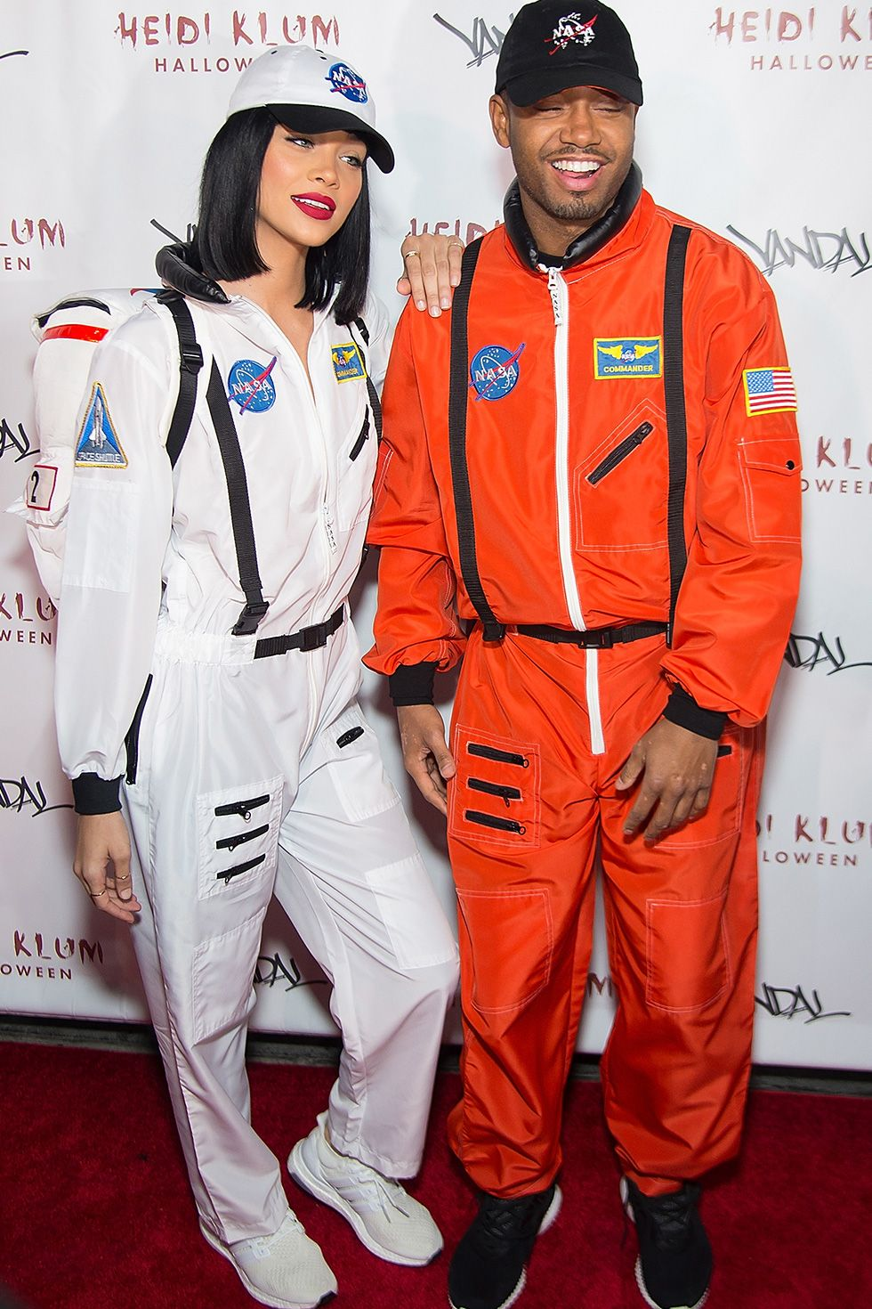 Jasmine Sanders and Actor Terrence J - Astronauts In 2016, model Jasmine Sanders and actor Terrence J wore matching NASA astronaut costumes for Heidi Klum's 17th annual Halloween party at Vandal in New York City.