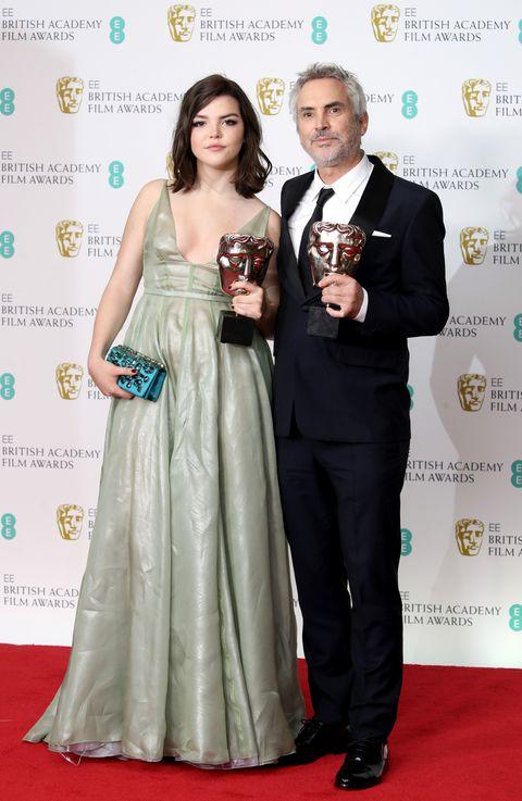 Alfonso Cuarón y su hija en los Bafta