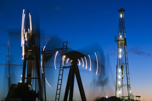usa, texas, midland, permian basin petroleum museum, dusk