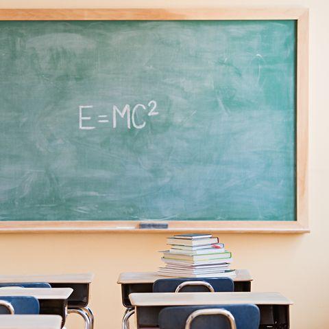 Textbooks and blackboard in classroom