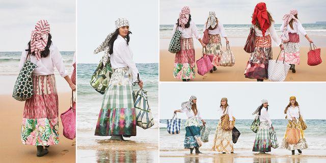chicas en la playa vestidas con combinaciones de textiles de hogar