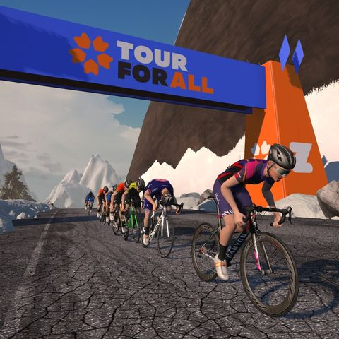 a route preview of zwift's tour for all fundraiser