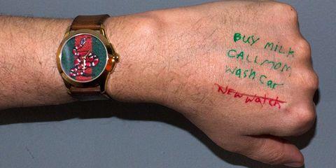 Wrist, Watch, Hand, Arm, Finger, Flesh, Fashion accessory, Wristband, Bracelet, Thumb,