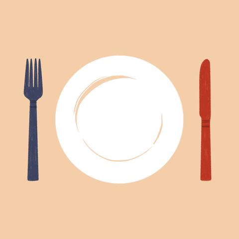 Fork, Cutlery, Tableware, Chopsticks, Spoon, Kitchen utensil, Circle, Plate, Illustration,