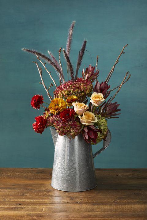 galvanized autumn flowers thanksgiving centerpiece