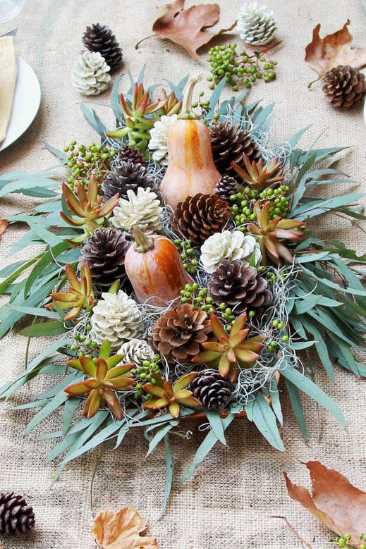 thanksgiving centerpieces pinecones