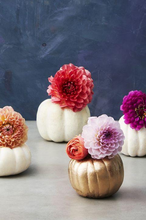 thanksgiving centerpieces  pumpkin pot flowers