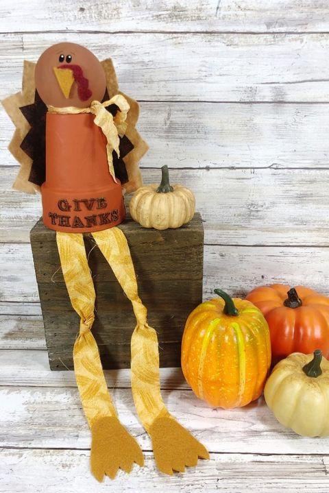 thanksgiving crafts clay pot turkey