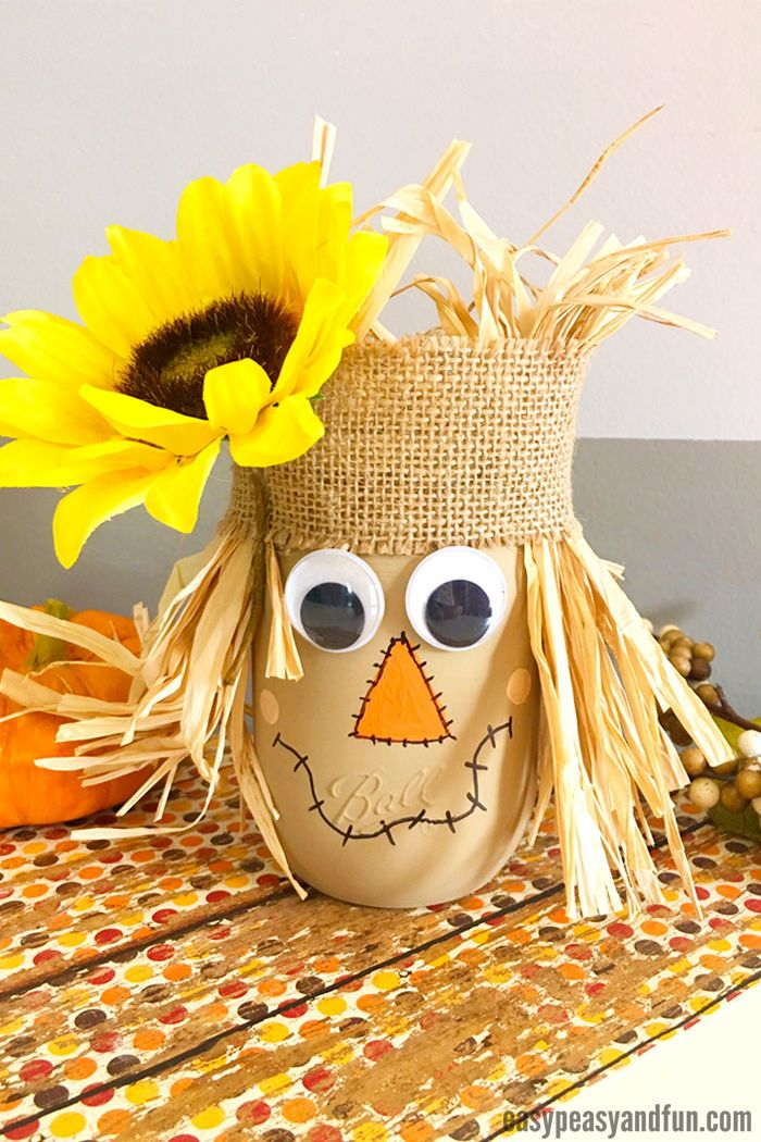 thanksgiving crafts kids scarecrow mason jar