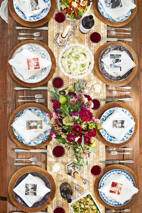 family table decorated for thanksgiving meal
