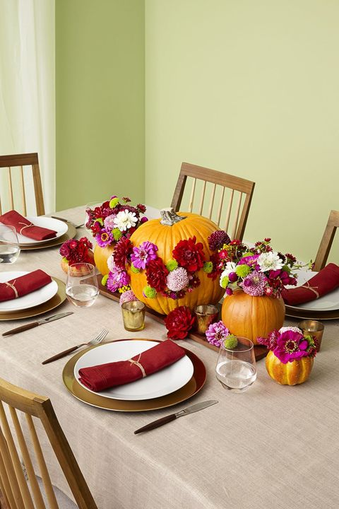 thanksgiving decorations floral pumpkins