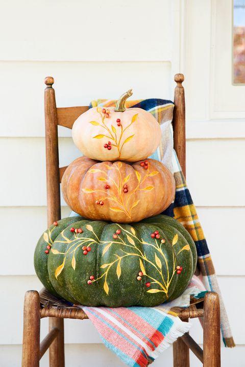 thanksgiving decorations floral painted pumpkins