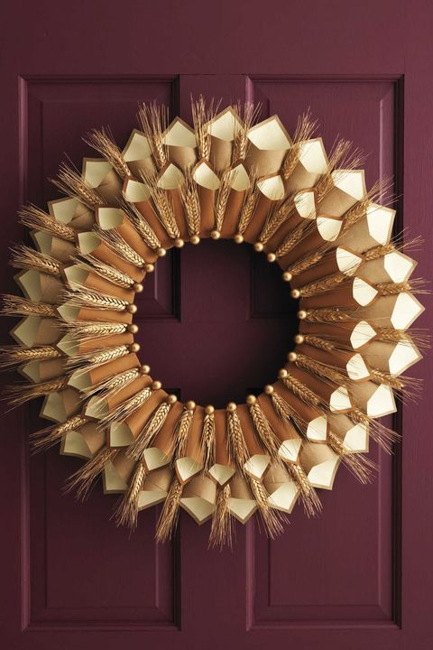 Thanksgiving Decorations - Wheat Gratitude Wreath