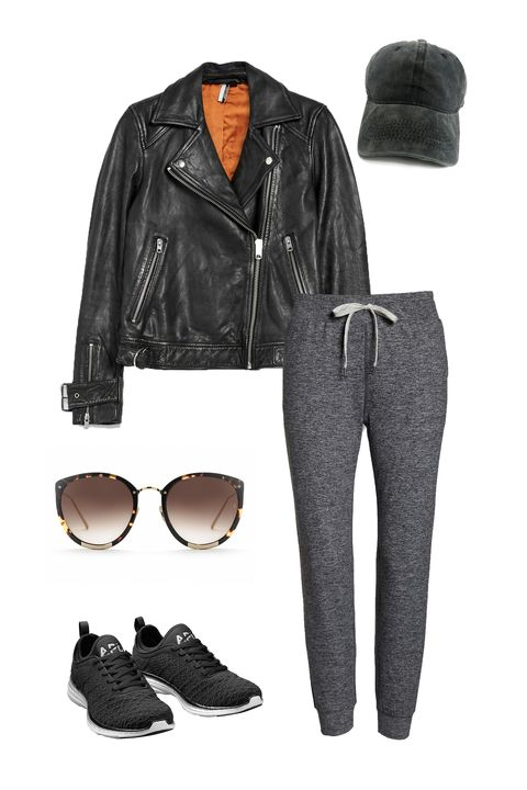 Clothing, Black, Leather, Jacket, Jeans, Denim, Leather jacket, Footwear, sweatpant, Fashion,