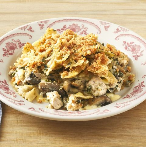 turkey tetrazzini in red and white bowl
